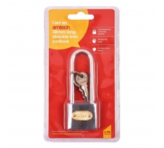 38mm LONG SHACKLE IRON PADLOCK