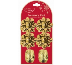 6PC BOW & RIBBON COPS GOLD