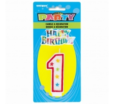 NUMBER 1 GLITTER BIRTHDAY CANDLE & DECORATION