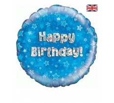 "OAKTREE 18"" HAPPY BIRTHDAY BLUE HOLOGRAPHIC"