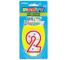 NUMBER 2 GLITTER BIRTHDAY CANDLE & DECORATION