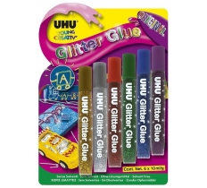 UHU Original Glitter Glue (6x10ml) Carded