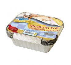 MEDIUM FOIL FOOD CONTAINERS AND LIDS 9 PACK