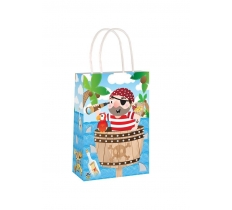 PIRATE PAPER PARTY BAG WITH HANDLES 14CM X 21 CM X 7CM