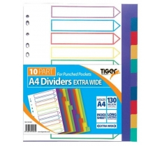 TIGER A4 EX WIDE 10 PART PP DIVIDERS