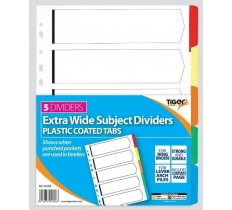 TIGER CARD DIVIDERS WITH PLASTIC TABS 5 PART EXTRA WIDE