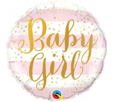 "18"" STRIPES PINK BABY GIRL BALLOON"