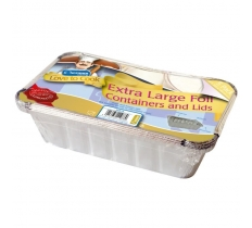 JUMBO FOIL FOOD CONTAINERS WITH LIDS 5 PACK