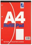 SILVINE A4 REFILL PAD 160 PAGES FEINT & MARGIN ( RED COVER )