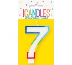 RAINBOW BORDER NUMBER BIRTHDAY CANDLE 7