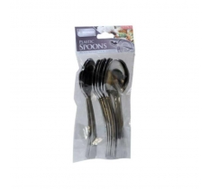 12 Pack of Premium Silver Coloured Plastic Spoons