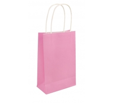 BABY PINK PAPER PARTY BAG WITH HANDLES 14CM X 21 CM X 7CM