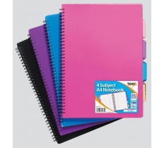 A4 Polpyrop Covered Twin Wire 4 Subject Project Notebook