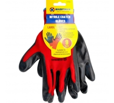 9'' 13G Red Polyester Black Nitrile Coating Gloves