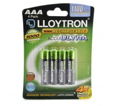 LLOYTRON AAA 1100MAH NIMH RECHARGABLE BATTERIES 4 PACK