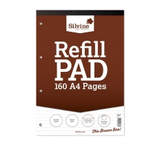 Silvine A4 Refill Pad, 160 pages, Feint (Brown cover)