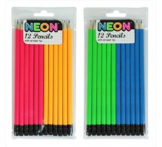 NEON RANGE 12PC PENCILS WITH ERASER