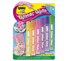 UHU Shiny Glitter Glue (6x10ml) Carded
