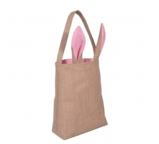 EASTER JUTE BAG WITH PINK EARS 30.5X10CM