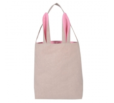 EASTER COTTON BAG WITH PINK EARS 30.5CM X10CM