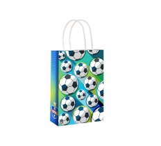 FOOTBALL PAPER PARTY BAG WITH HANDLES 14CM X 21 CM X 7CM