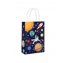 SPACE PAPER PARTY BAG WITH HANDLES 14CM X 21CM X 7CM