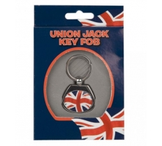 UNION JACK OVAL METAL KEYRING IN BOX