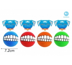 VINYL BALL WITH TEETH DOG TOY & SQUEAKER