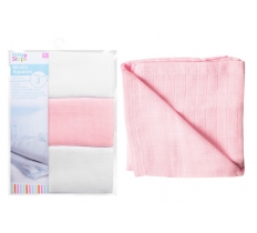 MUSLIN SQUARES 60CM X 60CM PINK & WHITE 3 PACK