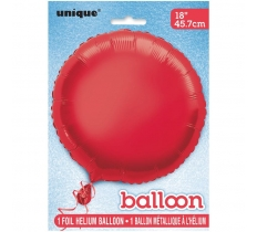 18'' PKG ROUND RED FOIL BALLOON