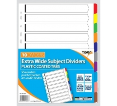 TIGER CARD DIVIDERS WITH PLASTIC TABS 10 PART EXTRA WIDE