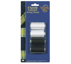 SEWING THREAD SPOOLS BLACK & WHITE 4 PACK