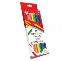 8 PACK COLOURING PENCILS WITH GRIPPER