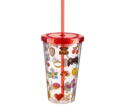 GAME OVER DOUBLE WALLED CUP WITH LID AND STRAW