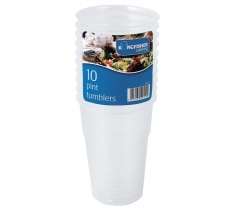 10 Pack of Clear Plastic 1 Pint Tumblers