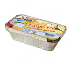 LARGE FOIL FOOD CONTAINERS WITH LIDS 6 PACK