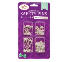 Silver Assorted Safety Pins 80 Pack