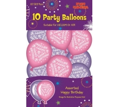 10PK PARTY BALLOONS PINK