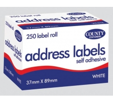 County Adhesive Labels On A Roll 250 Pack