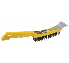 BLACKSPUR 4 ROW PLASTIC WIRE BRUSH WITH SCRAPER