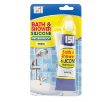 Waterproof Bath & Shower White Silicone Sealant 70g Tube