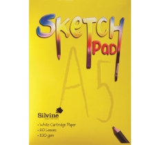 SILVINE A5 SKETCH PAD 100GSM WHITE CARTRIDGE PAPER 20 SHEETS