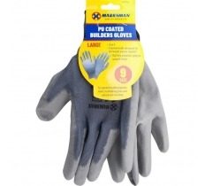Grey Polyester PU Coating Gloves - size 9
