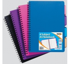 A5 Polyprop Covered Twin Wire 4 Subject Project Notebook