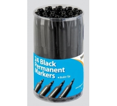 Bullet Tip 2mm Permanent Black Markers X 24 ( 21p Each )