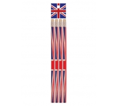 PACK OF 4 UNION JACK PENCILS WITH ERASER