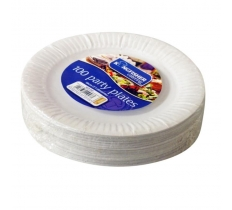 100 Pack of 7 inch White Paper Disposable Plates