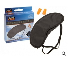 SATIN TRAVELLERS EYE MASK AND EAR PLUGS