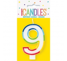 RAINBOW BORDER NUMBER BIRTHDAY CANDLE 9