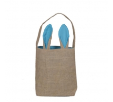 EASTER JUTE BAG WITH LIGHT BLUE EARS 30.5X10CM